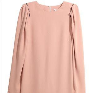 H&M Beige Puff Sleeves padded shoulder  Dress Sz 4